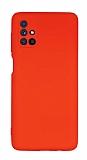 Eiroo Lansman Samsung Galaxy M51 Kamera Korumalı Kırmızı Silikon Kılıf