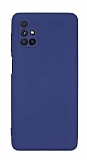Eiroo Lansman Samsung Galaxy M51 Kamera Korumalı Lacivert Silikon Kılıf