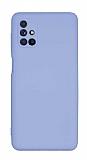 Eiroo Lansman Samsung Galaxy M51 Kamera Korumalı Lila Silikon Kılıf
