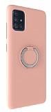 Eiroo Lansman Samsung Galaxy A71 Selfie Yüzüklü Pembe Silikon Kılıf