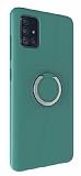 Eiroo Lansman Samsung Galaxy A71 Selfie Yüzüklü Yeşil Silikon Kılıf