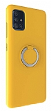 Eiroo Lansman Samsung Galaxy A71 Selfie Yüzüklü Sarı Silikon Kılıf
