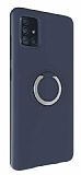 Eiroo Lansman Samsung Galaxy A71 Selfie Yüzüklü Lacivert Silikon Kılıf