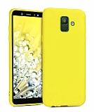 Eiroo Lansman Samsung Galaxy J8 Sarı Silikon Kılıf