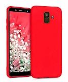Eiroo Lansman Samsung Galaxy J8 Kırmızı Silikon Kılıf