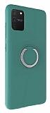 Eiroo Lansman Samsung Galaxy S10 Lite Selfie Yüzüklü Yeşil Silikon Kılıf