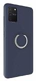 Eiroo Lansman Samsung Galaxy S10 Lite Selfie Yüzüklü Lacivert Silikon Kılıf