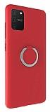 Eiroo Lansman Samsung Galaxy S10 Lite Selfie Yüzüklü Kırmızı Silikon Kılıf