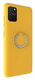 Eiroo Lansman Samsung Galaxy S10 Lite Selfie Yüzüklü Sarı Silikon Kılıf