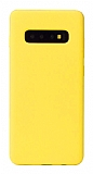 Eiroo Lansman Samsung Galaxy S10 Plus Sarı Silikon Kılıf