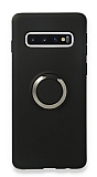 Eiroo Lansman Samsung Galaxy S10 Selfie Yüzüklü Siyah Silikon Kılıf
