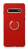 Eiroo Lansman Samsung Galaxy S10 Selfie Yüzüklü Kırmızı Silikon Kılıf