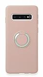 Eiroo Lansman Samsung Galaxy S10 Selfie Yüzüklü Pembe Silikon Kılıf