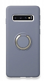 Eiroo Lansman Samsung Galaxy S10 Selfie Yüzüklü Mavi Silikon Kılıf