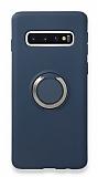 Eiroo Lansman Samsung Galaxy S10 Selfie Yüzüklü Lacivert Silikon Kılıf