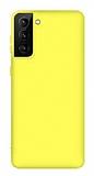 Eiroo Lansman Samsung Galaxy S21 Sarı Silikon Kılıf
