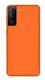 Eiroo Lansman Samsung Galaxy S21 Turuncu Silikon Kılıf