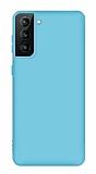 Eiroo Lansman Samsung Galaxy S21 Mavi Silikon Kılıf