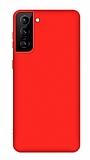 Eiroo Lansman Samsung Galaxy S21 Kırmızı Silikon Kılıf