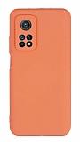 Eiroo Lansman Xiaomi Mi 10T Pro 5G Kamera Korumalı Turuncu Silikon Kılıf