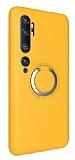 Eiroo Lansman Xiaomi Mi Note 10 Selfie Yüzüklü Sarı Silikon Kılıf