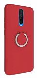 Eiroo Lansman Xiaomi Poco X2 Selfie Yüzüklü Kırmızı Silikon Kılıf