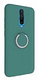 Eiroo Lansman Xiaomi Poco X2 Selfie Yüzüklü Yeşil Silikon Kılıf