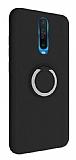 Eiroo Lansman Xiaomi Poco X2 Selfie Yüzüklü Siyah Silikon Kılıf