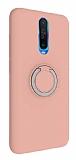 Eiroo Lansman Xiaomi Poco X2 Selfie Yüzüklü Pembe Silikon Kılıf
