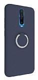 Eiroo Lansman Xiaomi Poco X2 Selfie Yüzüklü Lacivert Silikon Kılıf