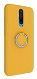 Eiroo Lansman Xiaomi Poco X2 Selfie Yüzüklü Sarı Silikon Kılıf