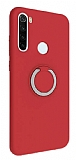Eiroo Lansman Xiaomi Redmi Note 8T Selfie Yüzüklü Kırmızı Silikon Kılıf