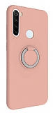 Eiroo Lansman Xiaomi Redmi Note 8T Selfie Yüzüklü Pembe Silikon Kılıf