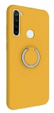 Eiroo Lansman Xiaomi Redmi Note 8T Selfie Yüzüklü Sarı Silikon Kılıf