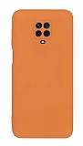 Eiroo Lansman Xiaomi Redmi Note 9 Pro Max Kamera Korumalı Turuncu Silikon Kılıf