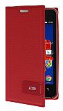 Lenovo A319 Gizli Mıknatıslı Yan Kapaklı Kırmızı Deri Kılıf