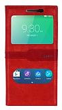 Lenovo A6000 Gizli Mıknatıslı Çift Pencereli Kırmızı Deri Kılıf