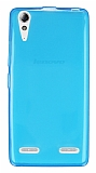 Lenovo A6000 Ultra İnce Şeffaf Mavi Silikon Kılıf