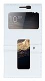 Lenovo Vibe P1 Gizli Mıknatıslı Çift Pencereli Beyaz Deri Kılıf