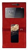 Lenovo Vibe P1 Gizli Mıknatıslı Çift Pencereli Kırmızı Deri Kılıf