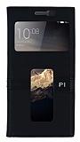 Lenovo Vibe P1 Gizli Mıknatıslı Çift Pencereli Siyah Deri Kılıf