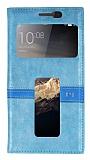Lenovo Vibe P1 Gizli Mıknatıslı Çift Pencereli Mavi Deri Kılıf