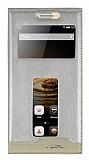 Lenovo Vibe P1 Gizli Mıknatıslı Çift Pencereli Gold Deri Kılıf