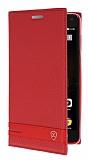 Lenovo Vibe P1 Gizli Mıknatıslı Kırmızı Deri Kılıf