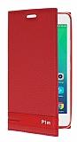 Lenovo Vibe P1m Gizli Mıknatıslı Yan Kapaklı Kırmızı Deri Kılıf