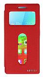 Eiroo Lenovo Vibe X2 Vantuzlu Pencereli Kırmızı Deri Kılıf