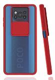 Eiroo Lens Series Xiaomi Poco X3 Kırmızı Silikon Kılıf