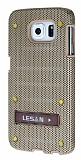 Eiroo Lesan Samsung i9800 Galaxy S6 Standlı Metal Delikli Gold Rubber Kılıf
