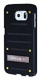 Eiroo Lesan Samsung i9800 Galaxy S6 Standlı Metal Delikli Siyah Rubber Kılıf