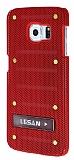 Eiroo Lesan Samsung Galaxy S6 Edge Standlı Metal Delikli Kırmızı Rubber Kılıf